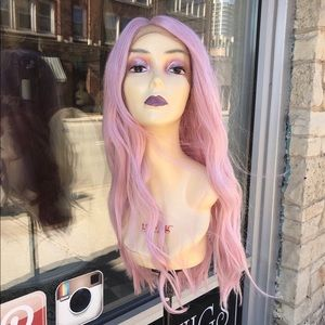 Pink pastel wig lacefront 24 invites long